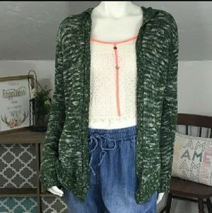 Green Marble Hooded Cardigan Sweater